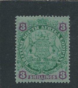 RHODESIA 1896-97 DIE 1 3s GREEN & MAUVE/BLUE MM SG 36 CAT £90
