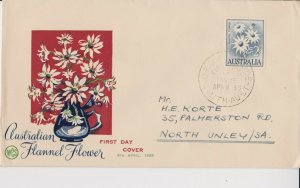 AFD753) Australia 1959 Australian Flannel Flowers Blue and Green cachet WCS FDC