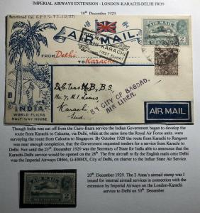 1929 Delhi India First Flight cover FFC to Karachi Pilot Stephen Smith Signed