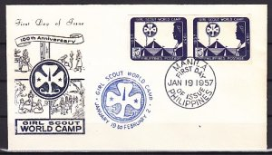 Philippines, 637a. Girl Scouts World Camp, IMPERF PAIR issue. First day cover. ^