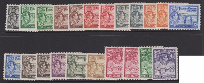Turks & Caicos 1938 King GVI Full Set Sc#78-89 Mint VLH