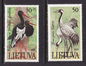 Lithuania MNH 403-4 Birds 1991