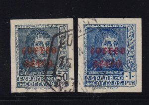 Spain Scott # C98 -C99 imperfs VF used with nice color cv $ 200 ! see pic !