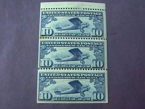 U.S.# C10a-MINT/HINGED*---BOOKLET PANE OF 3---AIR MAIL---DARK BLUE--1927