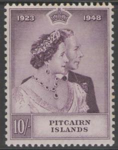 PITCAIRN ISLANDS SG12 1949 SILVER WEDDING 10/= MTD MINT