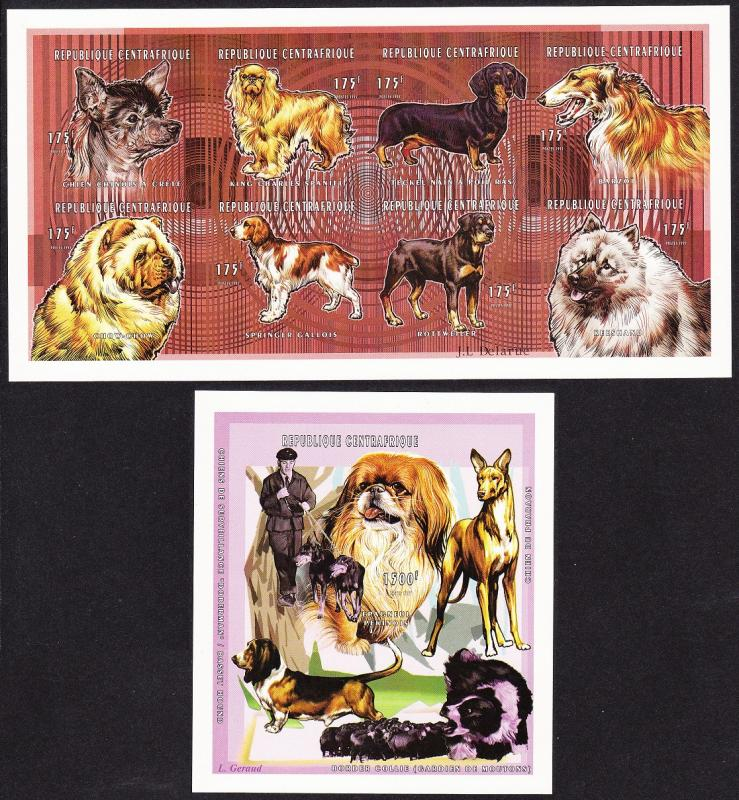Central African Rep. Dogs Sheetlet+MS imperf MI#1945B-52B+Block 602B