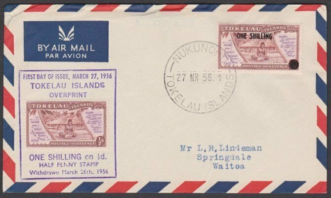 TOKELAU IS 1956 1/- OVERPRINT FDC, Nukunono cds.............................N685