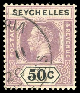 Seychelles 1917 KGV 50c dull purple & black very fine used. SG 92. Sc 84.