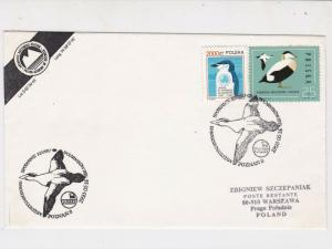 Poland 1993 Arctic Antarctic Polar Expedition Geese Penguins Stamps Cover  23184