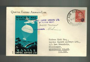 1941 Australia Parachute Mail to Mornington Island Signed by Pilot Qantas Empire