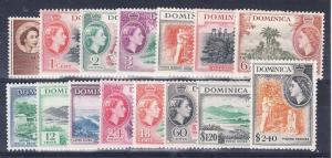 Dominica Scott 142-156 Mint hinged (Catalog Value $60.85)