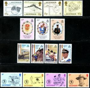 ASCENSION Sc#289-316 1973-81 Seven Complete Sets Mint OG LH