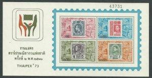 1973 Thailand Scott Catalog Number 679a Souvenir Sheet Unused Never Hinged