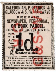 (I.B) Caledonian, Portpatrick & Glasgow & SW Railways : Newspaper Parcel 1d