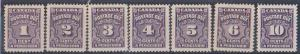 Canada -1935-1965 Postage Dues Set of 7 - USC #J15-J20 inc. #J16B F-VF-NH