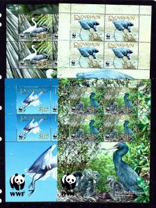 Penrhyn Is 468-71 MNH 2008 Birds sheets of 4
