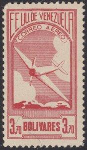 Venezuela 1937 3.70b Rose Red. MNH unmounted. Scott C61, SG 484