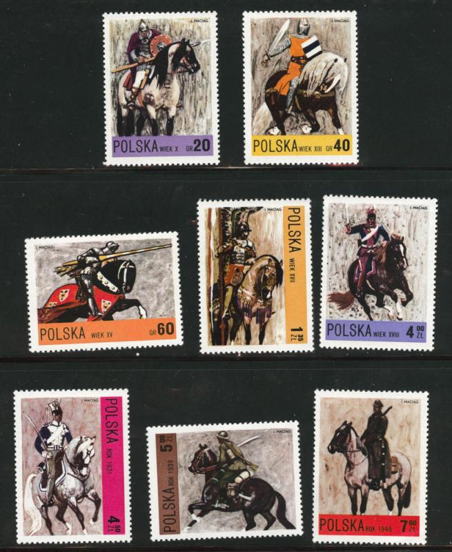Poland Scott 1946-1953 MNH** 1972  Cavalry art set CV $3.50