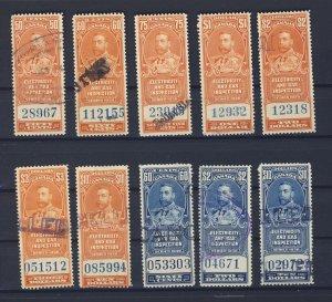 10x Canada Revenue Electric Light Stamps; #FEG1 to FEG-9 -$10.00 U GV = $26.00