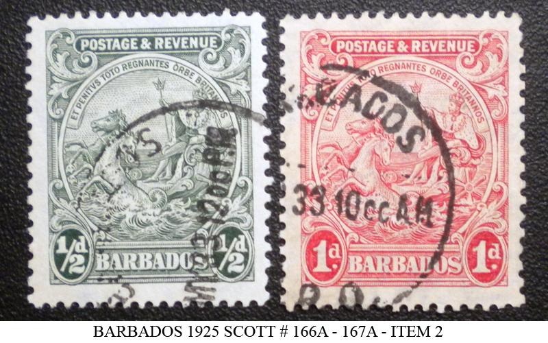 BARBADOS STAMP 1925. SCOTT # 166A - 167A. USED. ITEM 2