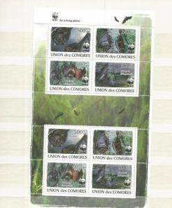 COMOROS 2009 BATS  MNH WWF SHEET