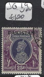 PAKISTAN (P1103B) ON INDIA KGVI  SG 19  25R   VFU