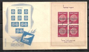 ISRAEL STAMPS,.  FD COVER 1949 STAMPS EXHIBITION TABUL