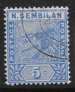 MALAYA NEGRI SEMBILAN SG4 1894 5c BLUE USED