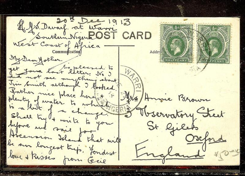 SOUTHERN NIGERIA (P1012B) 1913 KGV  1/2DX2  ON PPC FROM WARRI