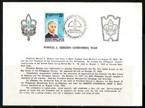 Philippines, Scott cat. 1355. M. Quezon Scout Camp cancel on a Souvenir Card. ^