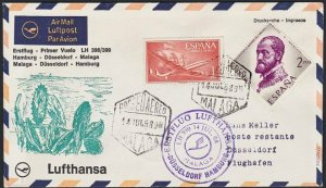 SPAIN 1968 Lufthansa first flight cover to Germany.........................H297