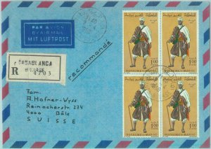 89652 - MOROCCO - Postal History - REGISTERED COVER to SWITZERLAND 1968 Costumes