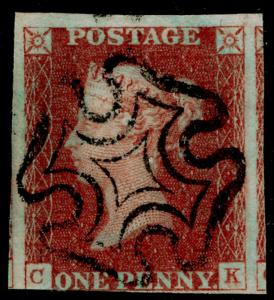 SG10, 1d deep red-brown PLATE 33, FINE USED. Cat £60+ BLACK MX. CK