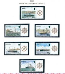 Jersey Sc 975-80 2001 Jersey-France steamship stamps mint NH