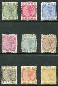 Barbados SG89/103 1882 Set of 9 M/Mint (4d grey hinge remainder)