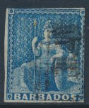 Barbados SG 10 SC# 6  Used  Deep Blue 2+  margins please see scans and details