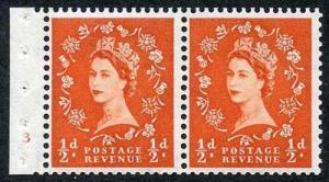 SB6 1/2d Orange Wmk Edward Booklet Pane of Two Cyl 3 No Dot U/M Superb Perfs