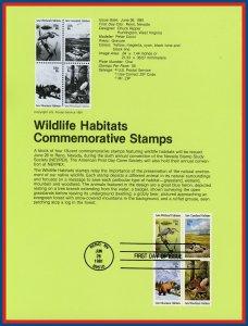 US FDC Souvenir Page #SP557 18c Wildlife Habitats #1924a