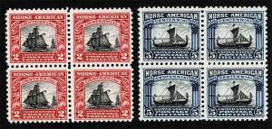 US Sc 620 621 Norse American NH Original Gum Blocks of 4 Set