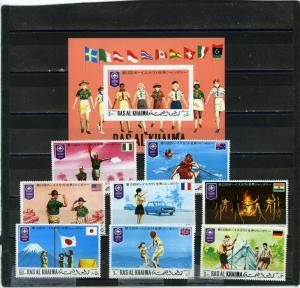 RAS AL KHAIMA 1971 WORLD SCOUT JAMBOREE JAPAN SET OF 8 STAMPS & S/S MNH