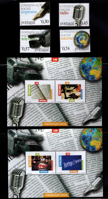 Portugal Scott 2761-2766 Communications Media sheets and set MNH** CV$18 2005