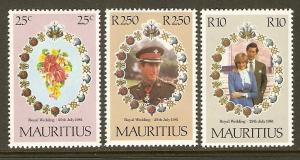 Mauritius #520-2 NH Royal Wedding