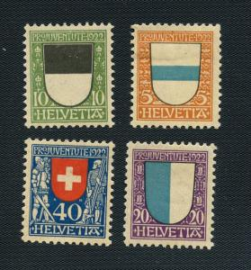 Switzerland-Scott # B21-B24 Zug, Fribourg, Lucerne, Swit. - Unused H