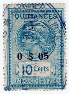 (I.B) France Colonial Revenue : Indo-China Quittances 5c on 10c OP