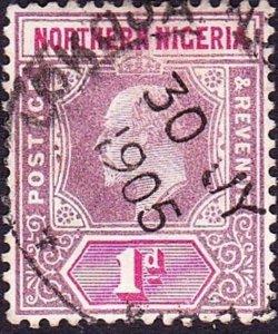 NORTHERN NIGERIA 1905 KEDVII 1d Dull Purple & Carmine SG21 Used