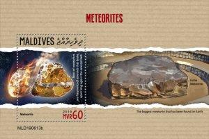 MALDIVES - 2019 - Meteorites - Perf Souv Sheet - MNH