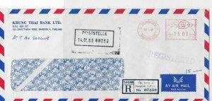 Thailand 1980 Krung Thai Bank Ltd Airmail Regd Meter Mail Stamp Cover Ref 29976