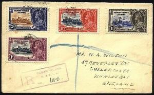 GILBERT & ELLICE IS 1935 Jubilee set on registered cover ex Ocean Is.......19840