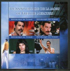 Chad 2021 30th Memorial  Anniversary  of Freddie Mercury sheet mint never hinged