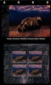 YUKON #8M 2003 GRIZZLEY BEAR CONSERVATION MINI SHEET OF 4 IN FOLDER